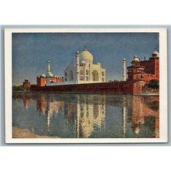1958 TAJ-MAHAL in AGRA INDIA near River by Vereshchagin Soviet USSR Postcard