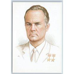 ROSTISLAV BELYAKOV Russia aircraft designer AVIA Airplane SU Hero USSR Postcard