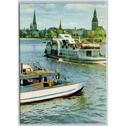 PASSENGER MOTOR SHIP in Riga Latvia Motorboat Boat River Soviet USSR Postcard