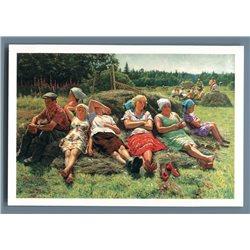 KOLKHOZ WOMEN Man Peasant Harvest Haymaking Socialist Russian Postcard