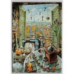 SEWING MACHINE Sew Workshop Toy Train Keys Window Pumpkin Russian New Postcard