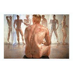 After battle by Deyneka Nude Man Gay Socialist Realism Fine Art Russian Postcard
