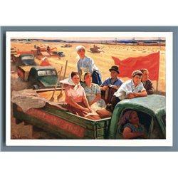 KOLKHOZ WORKER in Truck Harvest USSR Soviet Propaganda Russian Postcard