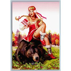 PIN-UP RUSSIAN GIRL on Brown Bear Ethnic Dress Cranberry New Unposted Postcard