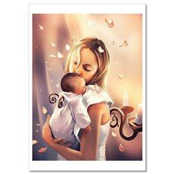 Woman Mom hug BABY Maternity Love  by Cyril Rolando Russian Modern Postcard
