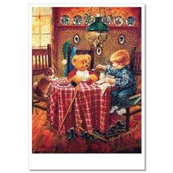 Little BOY with his TEDDY Bear Dinner Hockey Dog Russian Modern Postcard