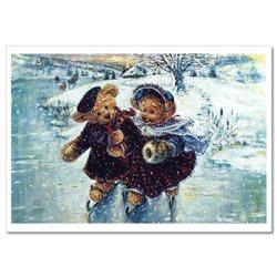 TEDDY BEAR on ice rink skate Winter river by Sherwood Russian Modern Postcard