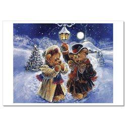 TEDDY BEAR TOYS Christmas Tree Lights by Sherwood Russian Modern Postcard