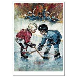 LITTLE BOYS playing ice hockey Sport Russian Modern Postcard 2
