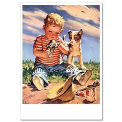 LITTLE BOY with shoe trouble Dog Comic Humor Russian Modern Postcard