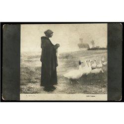 "1900's Imperial Russia RPPC Postcard ""Shepherdess"" by Penet Goose"