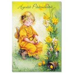 Lisi MARTIN~ LITTLE GIRL with chickens Birds ART KIDS postcard