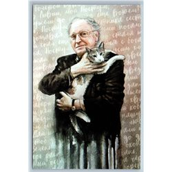 Joseph Brodsky with CAT Russian & American Poet Literature New Postcard