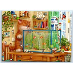 RED CAT and gold fish in aquarium Mice Funny New Unposted Postcard