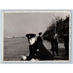 1960s HANDSOME MAN in Avia Pilot Uniform River Russian Photo