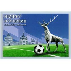 FIFA NIZHNY NOVGOROD Football World CUP Russia 2018 Deer Ball New Postcard