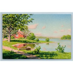 LANDSCAPE with Cherry Blossom Lake Boat Peasant by Johan Krouthen New Postcard