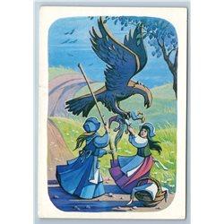 LITTLE GIRLS fight EAGLE Andersen Tale  by Narskaya 1985 Old Vintage Postcard