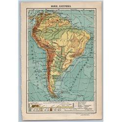 1929 MAP of BRAZIL ARGENTINA SOUTH AMERICA by GGK VSNH USSR Soviet Rare