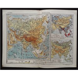 1929 MAP of ASIA MNR India CHINA Empire Physical by GGK VSNH USSR Soviet Rare