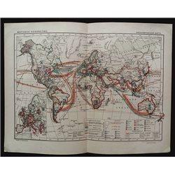 1930 MAP of WORLD ECONOMY Import Export by GGK VSNH USSR Soviet Rare