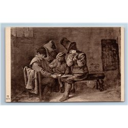 1920s TWO CARD PLAYERS play Game Old Fashion by Brouwer Old Anique Postcard
