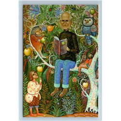 STEVE JOBS on APPLE TREE with BOOK in Russian Ethnic Style New Unposted Postcard