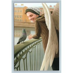 HANDSOME BOY with PIGEON Dove on Bridge Muse in City Russian New Postcard