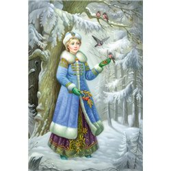 SNOW MAIDEN in Winter Forest fees Birds Bullfinches Ethnic Russian New Postcard