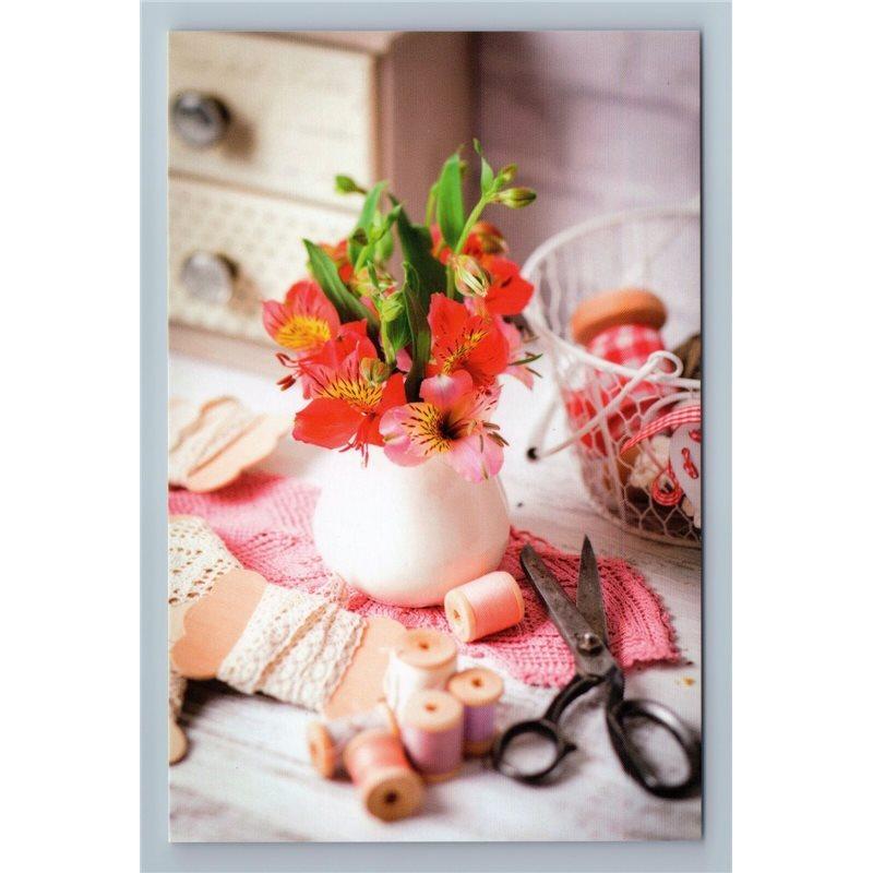 SEWING WORKSHOP Spools of thread Sew Scissors LACE Russian New Postcard