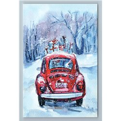 CHRISTMAS GIFTS on OLD CLASSIC RED CAR Snow Winter Forest Russian New Postcard