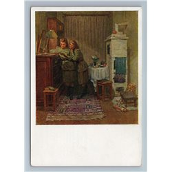 1964 WWII GIRLFRIENDS read Letter Interior War by Ryangina Soviet USSR Postcard