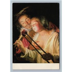 The soldier and the girl Nude Woman by Gerrit van Honthorst Germany Postcard