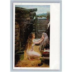 1975 SPRING Nude Woman dresses Girl near bathhouse by Plastov Art Postcard