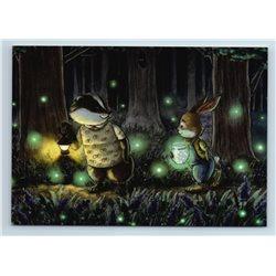 CHIPMUNK n RABBIT Night Forest fireflies Best friends by Malyauka New Postcard