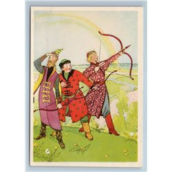 1956 THREE PRINCES with Bow from Russian Tale Princess Frog Soviet USSR Postcard