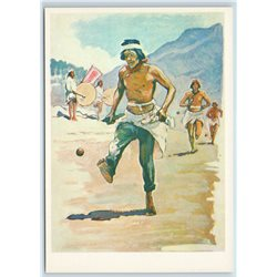 "SPORT ""Runner"", Mexican Indians Mexico Run 1981 Russia VTG postcard"