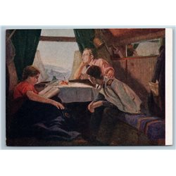 1955 SOVIET PEOPLE in a railway carriage BOOK Railroad USSR Vintage Postcard