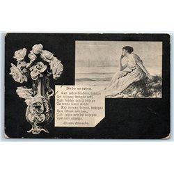 1910's Romantic WOMAN Victorian SEA Beach Roses Vase Latvian Antique Postcard