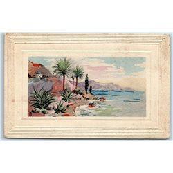 1900's SEASIDE Landscape Sea Early  Carl Odemar 1122 Embossed Antique Postcard