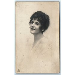 1900's SMILING GIRL LADY in White Dress Antique RPPC Postcard