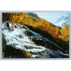 Dombay Russia Chuchkhurskiy Waterfall Canyon River Old Birches Vintage Postcard
