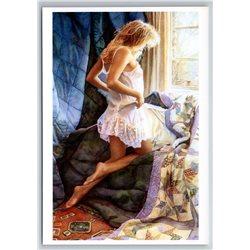Sexy Lady Woman near the window by Steve Hanks NEW MODERN Postcard