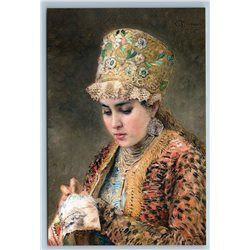 RUSSIAN WOMAN Young Boyarina with Embroidery by Makovsky Russian NEW Postcard