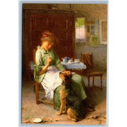 Pretty Young Girl play with Dog Interior by Carlton Smith NEW MDRN Postcard