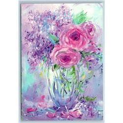 FLOWERS in Glass Vase Lilac pink Dreams Shabby Style New Unposted Postcard