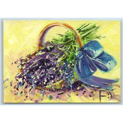 LAVENDER Flowers in a Small Basket Provence Style New Unposted Postcard