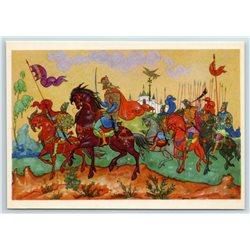 1968 RUSSIAN WARRIORS Cavalry RUS to Battle PALEKH Pushkin USSR Vintage Postcard