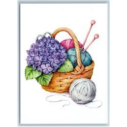 BASKET of KNITTING Thread Flowers Needlework Craft New Unposted Postcard