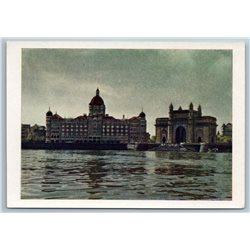 1958 INDIA Bombay Hotel Taj Mahal Gate Seascape Real Photo Soviet USSR Postcard